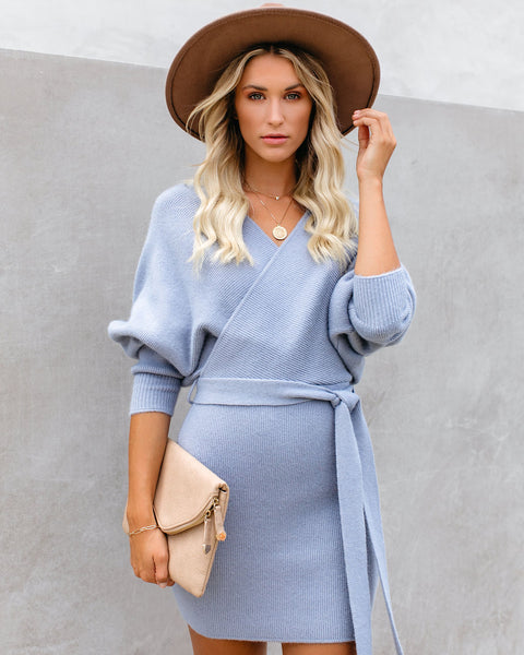 Kara Drape Knit Sweater Dress - Dusty Blue