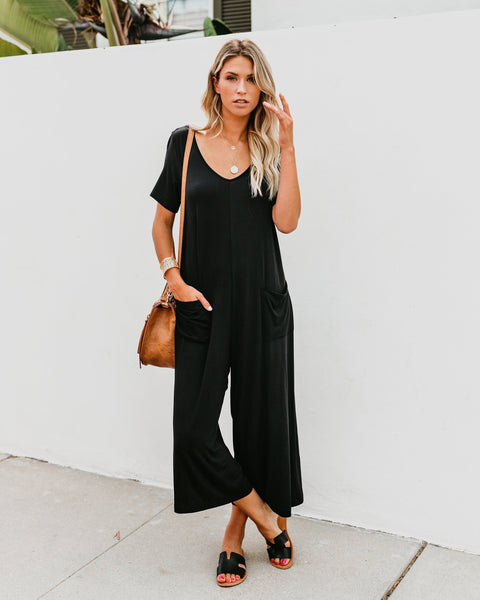 PREORDER - Karma Pocketed Culotte Jumpsuit - Black