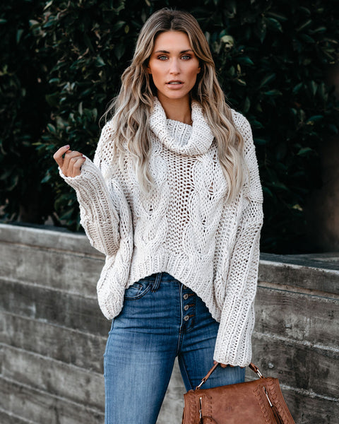 Kathryn Cowl Neck Cable Knit Sweater - FINAL SALE