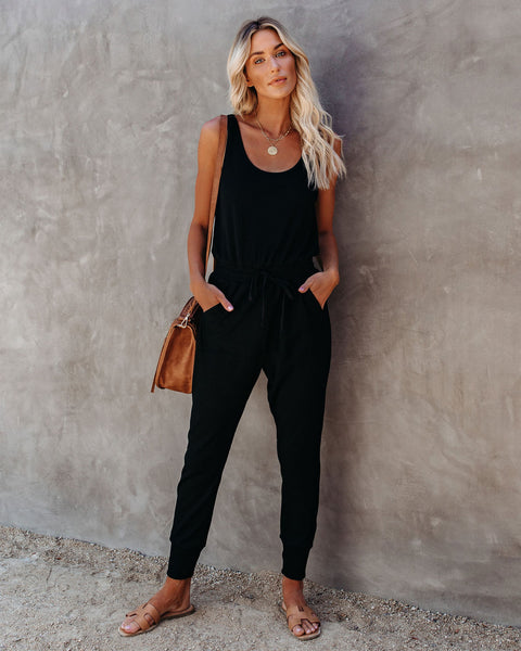 PREORDER - Katya Pocketed Ribbed Knit Jumpsuit