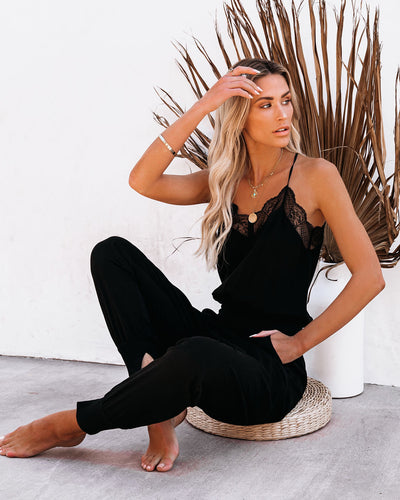 Kaylie Tencel Pocketed Lace Cami Jumpsuit