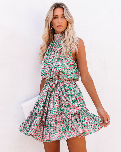 Keaton Printed Halter Dress