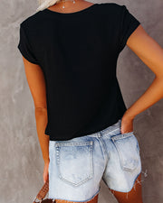 Keegan Cropped Knit Tee - Black