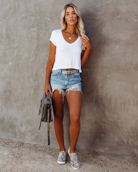Keegan Cropped Knit Tee - White