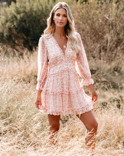 Keegan Floral Ruffle Dress - Blush