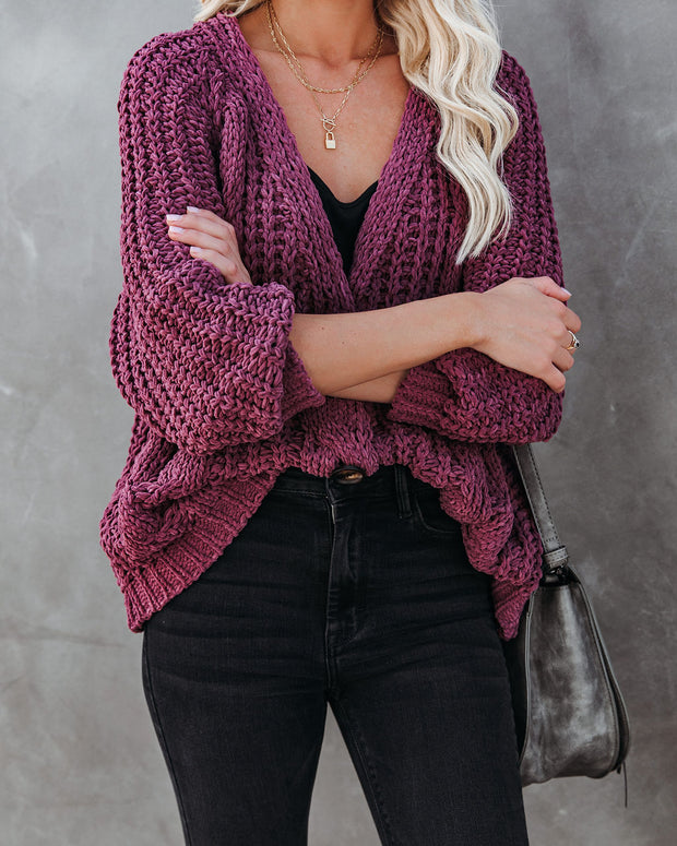 Keely Chenille Button Front Cardigan - Plum