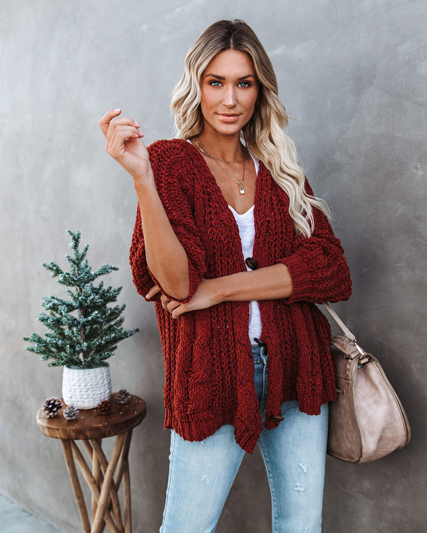 Keely Chenille Button Front Cardigan - Red Bean