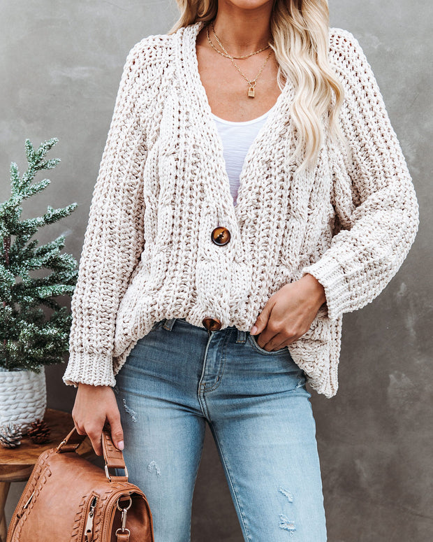 Keely Chenille Button Front Cardigan - Beige