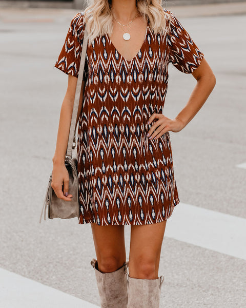 Keep In Touch Short Sleeve Shimmer Shift Dress - FINAL SALE