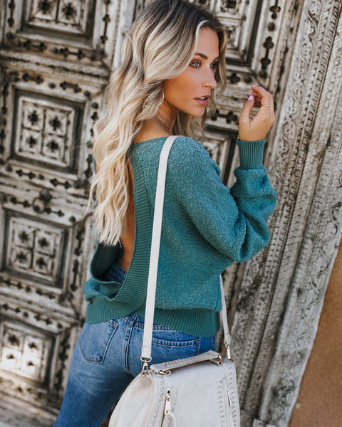 Keep It 100 Cotton Open Back Sweater - Teal