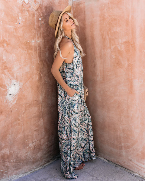 Keep Palm + Carry On Pocketed Maxi Dress