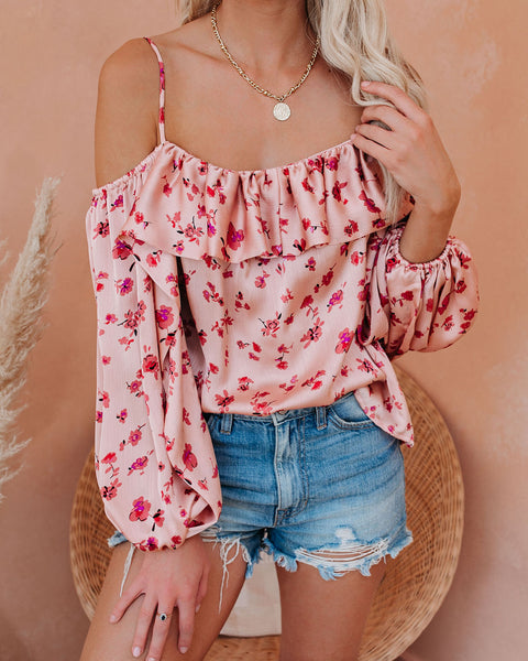 Keepsake Balloon Sleeve Cold Shoulder Blouse