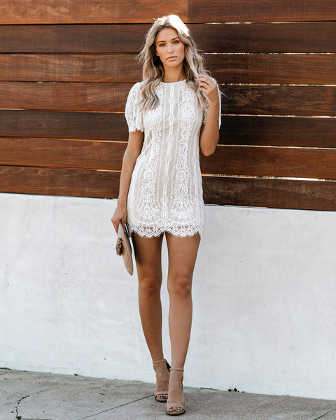 Keep You Company Short Sleeve Lace Dress