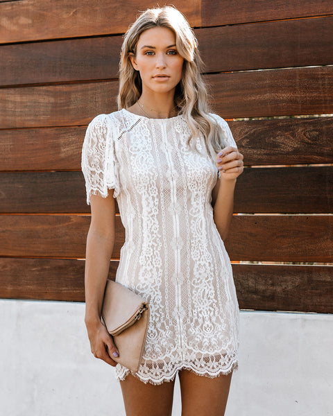 Keep You Company Short Sleeve Lace Dress - FINAL SALE