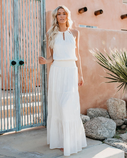 Kelby Smocked Maxi Dress - Off White