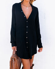 Kennedy Cotton Pocketed Button Down Tunic - Black