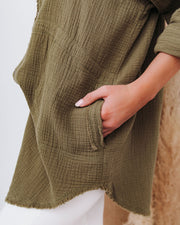 Kennedy Cotton Pocketed Button Down Tunic - Olive view 12