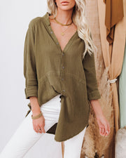 Kennedy Cotton Pocketed Button Down Tunic - Olive view 10