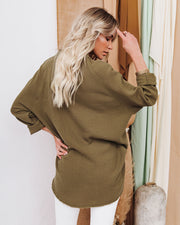 Kennedy Cotton Pocketed Button Down Tunic - Olive view 9