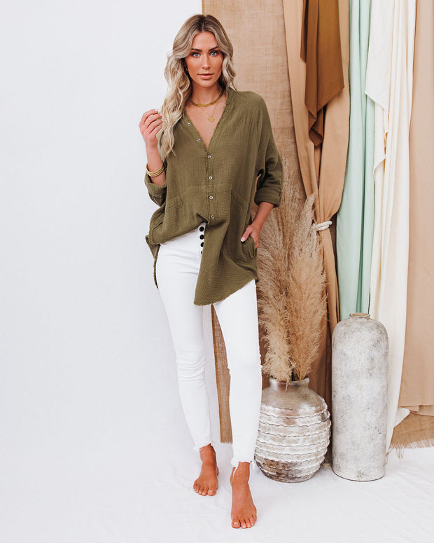 Kennedy Cotton Pocketed Button Down Tunic - Olive view 8