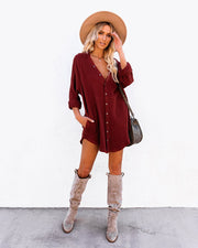 Kennedy Cotton Pocketed Button Down Tunic - Wine