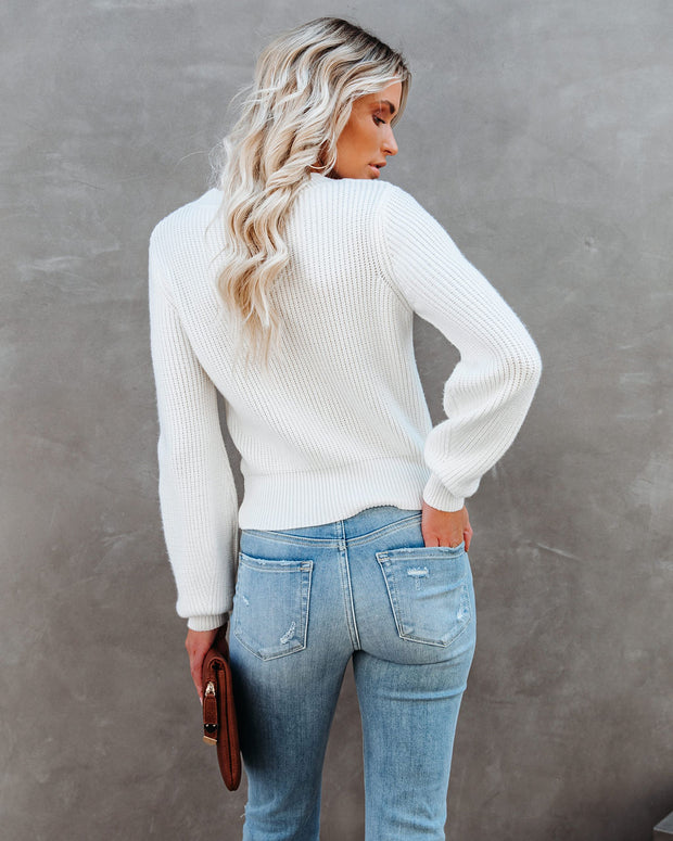 Keyhole To My Heart Knit Sweater - Ivory