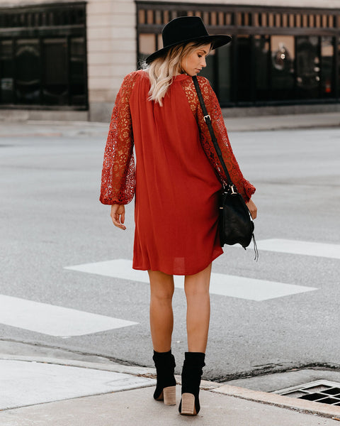 Key To Happiness Pocketed Crochet Sleeve Dress - Terracotta - FINAL SALE