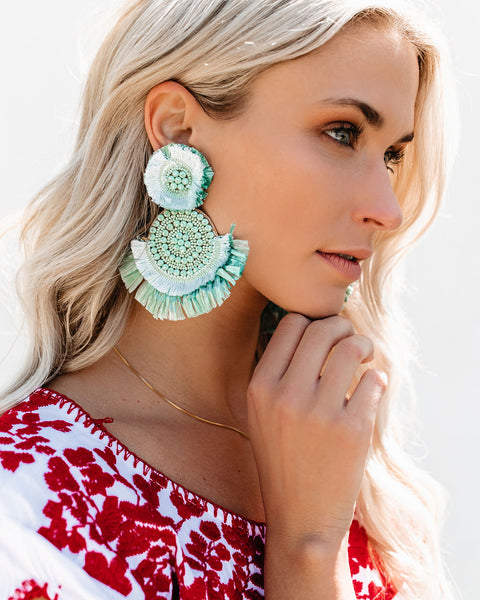 Key West Beaded Fringe Earrings - Mint - FINAL SALE
