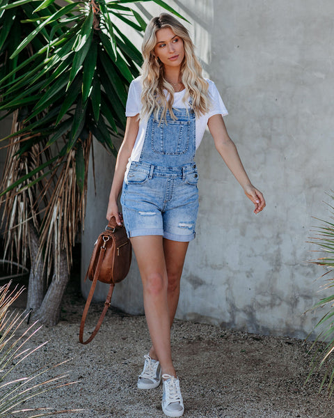 Khloe Distressed Denim Overall Shorts