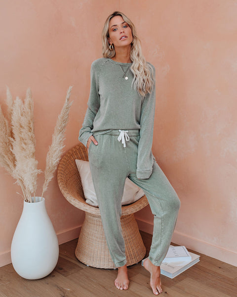 Kick Back And Relax Knit Raglan Top - Jade Green
