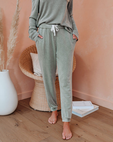 Kick Back And Relax Pocketed Knit Joggers - Jade Green
