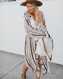 Cypress Striped Pocketed Duster Cardigan