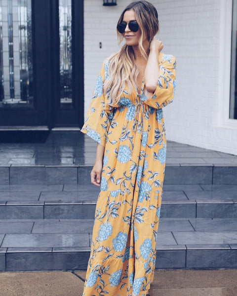 Golden Gaze Kimono Maxi Dress