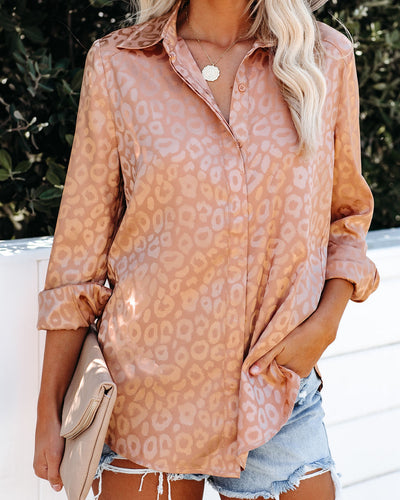 Kingdom Satin Embossed Button Down Blouse - Gold