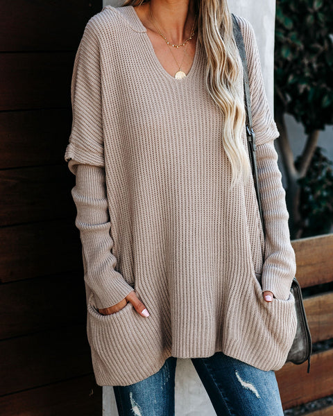 Kindhearted Pocketed Relaxed Knit Hoodie