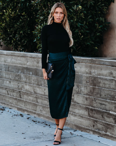 Kind Heart Satin Wrap Midi Skirt