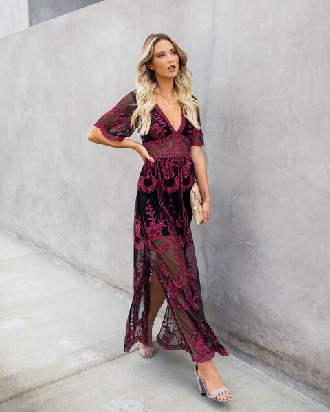 Kindled Flame Embroidered Lace Maxi Dress