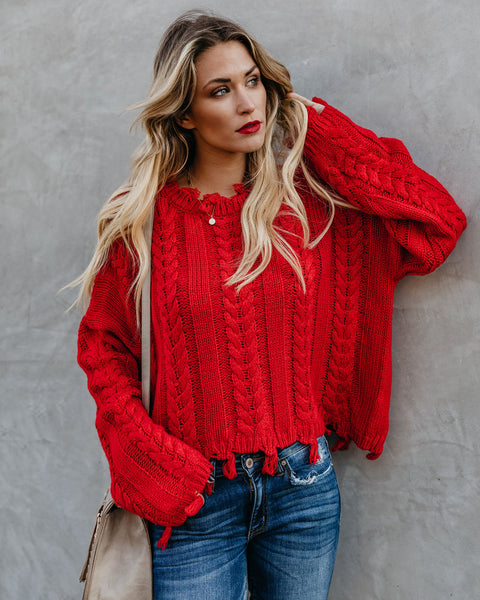 Kindness Wins Distressed Sweater - Red