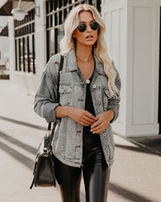 Kind Of A Big Deal Pocketed Studded Denim Jacket - Light Wash