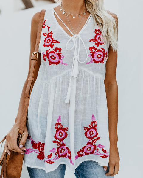 Kindred Spirits Embroidered Babydoll Tank
