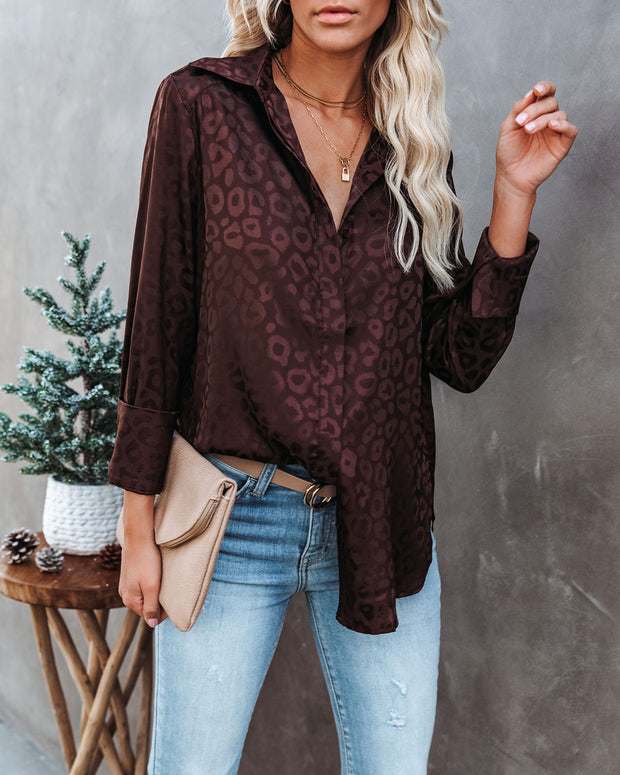 Kingdom Satin Embossed Button Down Blouse - Chocolate