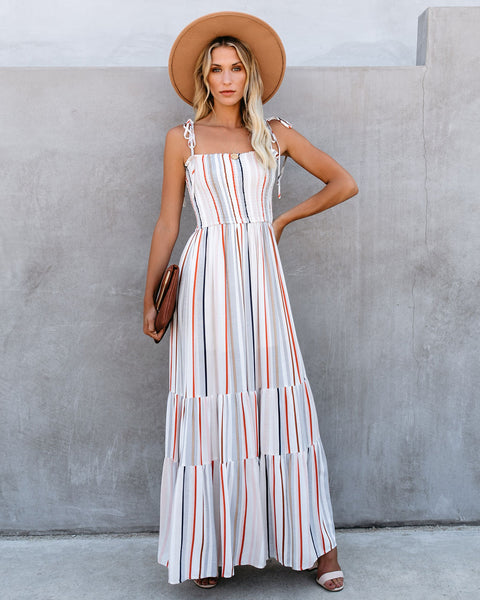Kings Beach Striped Smocked Maxi Dress