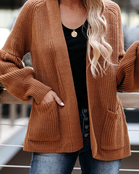 Kirkwood Pocketed Balloon Sleeve Cardigan - Camel  - FINAL SALE