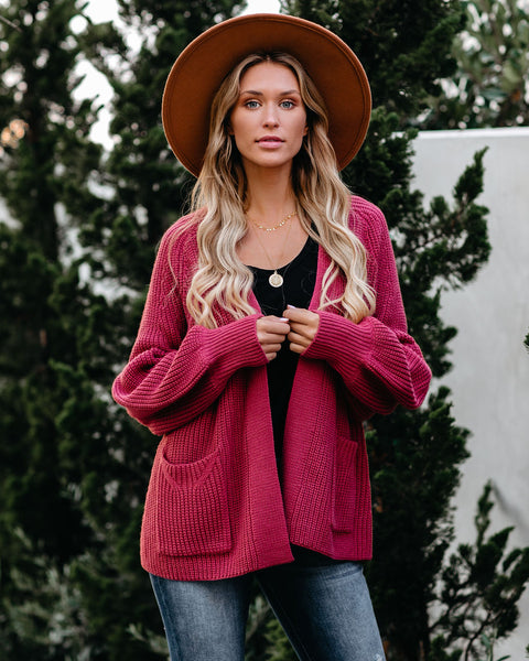 Kirkwood Pocketed Balloon Sleeve Cardigan - Rose - FINAL SALE
