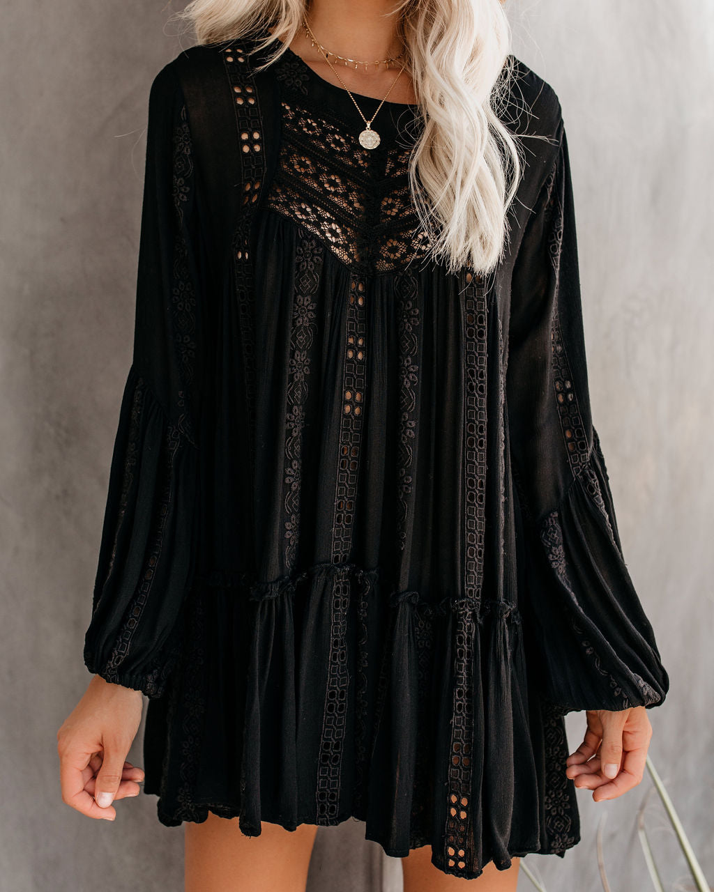 Kiss Kiss Embroidered Lace Tunic - Black - FREE PEOPLE - FINAL SALE