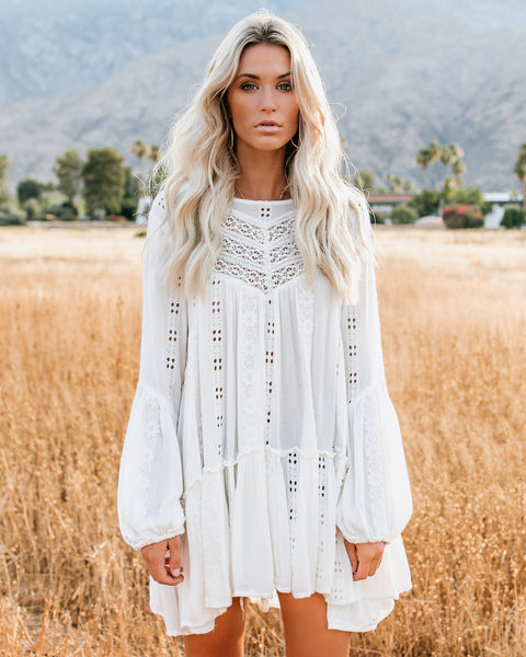 Kiss Kiss Embroidered Lace Tunic - Ivory - FREE PEOPLE - FINAL SALE