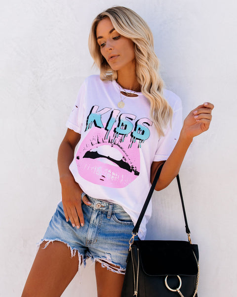 Kiss My Lips Distressed Cotton Tee