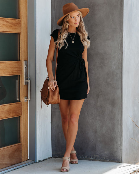 Knot Over You Cotton Dress - Black