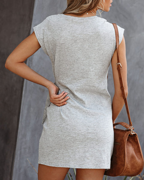 PREORDER - Knot Over You Cotton Dress - Heather Grey