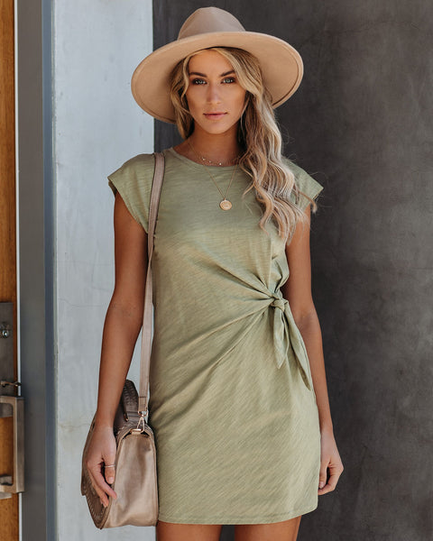 Knot Over You Cotton Dress - Olive